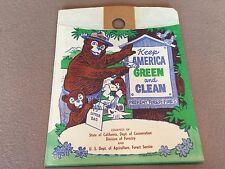 NOS RARE 1940S -1950S AUTO ACCESSORY SMOKEY THE BEAR CALIFORNIA LITTER TRASH BAG
