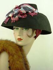 """Sombrero Vintage 1940s francés era SGM, Ladies Negro Fieltro 'hacer do & Mend """"día Sombrero"""