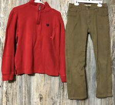 Chaps Red 1/4 Zip Shirt Boys Size L 14/16 Signature Levi Strauss 14 Khaki Pants