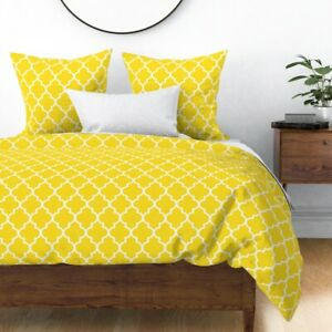 Moroccan Yellow Ogee Quatrefoil Modern Chic Sateen Duvet Cover by Roostery