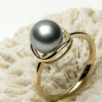 8.6mm Round Gray Cultured Tahitian Sea Pearl Ring Solid 14k Yellow Gold Size 7
