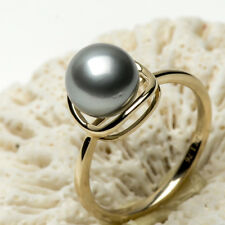 8.6mm Round Silver Gray Genuine Tahitian Saltwater Pearl Ring 14K Yellow Gold