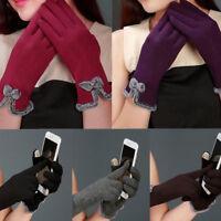 Women Full Finger Fleece Lined Gloves Touch Screen Mittens Winter Warm Gift