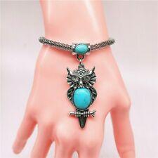 Fashion Jewelry Antique Silver Turquoise Pendant  Rhinestone Bracelet Bangle W06