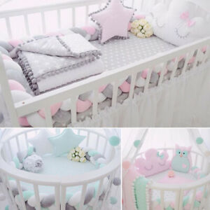 Moonvvin Breathable Crib Bumper Collision-Proof Washable Nursery Bedding Set Portable Detachable Organic Cot Guardrail for Baby