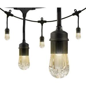 Enbrighten 9-Bulb 18 ft. Integrated LED Cafe String Lights, Black