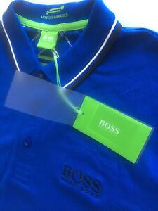 Hugo Boss M Paddy Pro Blue Moisture Manager SS Polo Shirt BNWT - RRP £89