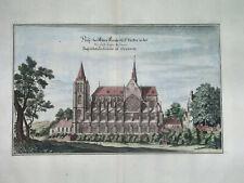 1660 NICE ORIGINAL MAP PARIS FRANCE Merian copper engraving CHURCH gothic
