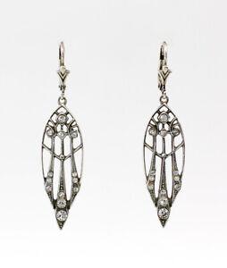 9901090-ds 925er Silber Art deco Ohrringe geometrisch Swarovski-Steine 5x1,4cm