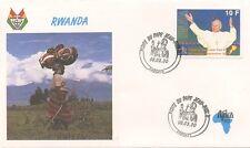 ENVELOPPE VISITE DU PAPE JEAN PAUL II / POSTE VATICANE 1990 RWANDA