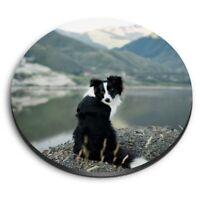 Round MDF Magnets - Border Collie Sheep Dog  #12385