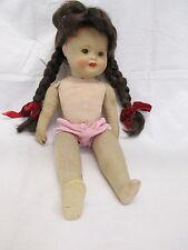 um 1955 Massekopf Puppe mit Stoffkörper / Schlafaugen / Mund geschlossen