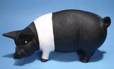 VINTAGE CAST IRON SADDLEBACK SWINE PIG PIGGY BANK DOOR STOP DOUBLE SCREW 5.5LBS
