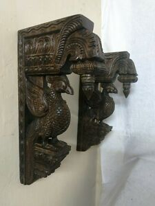 Wall Wooden Bracket Bird Sculpted Corbel Pair Vintage Peacock Statue Home Decor