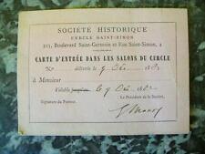 SOCIETE HISTORIQUE CERCLE SAINT-SIMON - CARTE D'ENTREE - signée Gabriel Monod