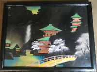 """Vintage """"Asian Mountain Homes Scene"""" Painting On Fabric Painting -  Framed"""