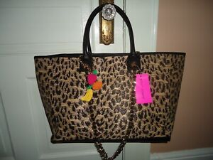 BETSEY JOHNSON MIGHTY JUNGLE LEOPARD CARRY ON LARGE WEEKEND TOTE SHOPPER BAG NWT