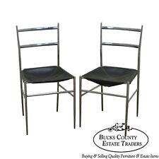 "Gio Ponti Mid Century Modern Chrome & Leather ""Superleggers"" Pair of Side Chairs"