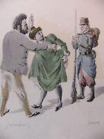 Simili Aquarelle L'oeuvre de Zola 1898 par H Lebourgeois Germinal