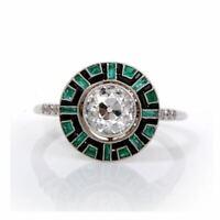 Art Deco Aquamarine Diamond 14K White Gold FN Anniversary Unique Ring 925 Silver