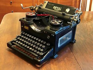 NICE Antique 1929 Royal 10 Typewriter QX Serial 1284641 Dual Beveled Glass Sides