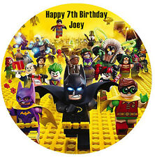 LEGO BATMAN PERSONALISED EDIBLE WAFER PAPER CAKE DECORATION IMAGE