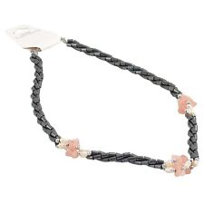 Haematite Twisted Rope Bead Necklace with 3 clusters of Rose Quartz stones