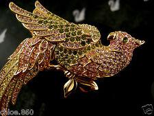 Signed Swarovski Crystal Parrot Bird Pin ~Brooch Retired Rare New