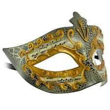 Womens Masquerade Mask Gold Venetian | Eye Mask with Musical Notes Filigree