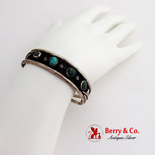 Old Pawn Sterling Silver Cuff Bracelet Turquoise Insets Feather Form Decorations