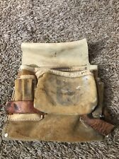 NICHOLAS WORK GEAR BELT LEATHER 2 POUCH, 2 Hammers, Pencil Made In America