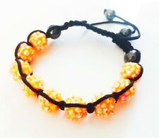 """USA"" Bracelet Rhinestone Crystal Ball Adjustable Handmade Shamballa Orange 03"