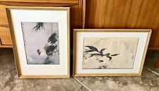 Pair of Chang Shu Chi Framed Art Lithograph Chinese Prints Ducks & Chickens