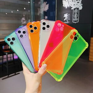 For iPhone 12 11 Pro Max XS XR X 7 8 Plus Clear Neon Fluorescent Soft Case Cover