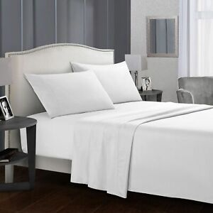 4 Piece 1800 Count Bed Sheet Set white - send Fitted sheet retaining clip