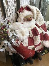 New listing Primitive Folk Art Snowman Doll,Antique Quilt, Stocking, Folk Art Snowman Doll