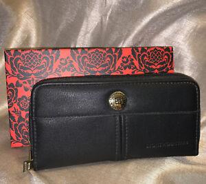 stone mountain black leather dbl wallet nib new nwt $48