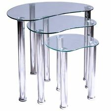 Cara Nest of Tables 3 Units Clear Bedroom Side End Table Glass Stainless Steel