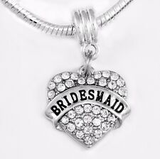 Bridesmaid charm Crystal Heart Charms fits European style bracelets