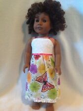 "Fit 18"" American Girl doll summer sundress pink butterfly dress clothes outfit"