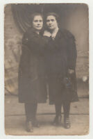 Two Pretty Young Women Nice Dressed Closeness Lady Girls 1920s Antique Old Photo