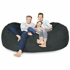 BIG FRANK BLACK 6 ft Bean bag with Free Inner Liner:COVER ONLY