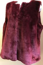 Michael Kors Merlot Wine Soft Faux Fur Vest Sleeveless Jacket