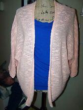 Old Navy Large Peach Orange Open Front Cardigan Sweater Bolero 1/2 Short Sleeve