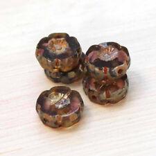 Vtg 600 LUMI BROWN BUTTERCUP FLOWER 3X5mm GLASS BEADS  #042320n