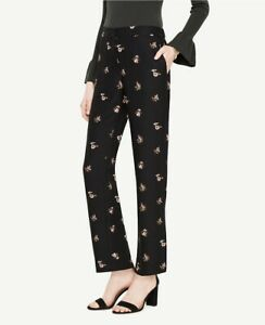 Women's Ann Taylor  Petite Fluid Straight Leg Pant In Floral Size M