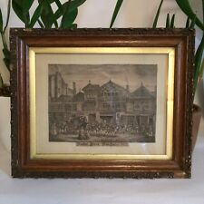 Antique 1822 Print Of Hyde 91 Market Street Manchester In Antique Wood Frame