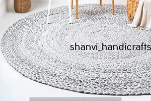 Hand Braided 180 CM Cotton Rugs Bohemian Area Dhurrie Modern Floor Rag Round Rug