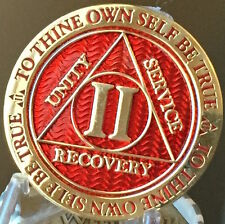 2 Year AA Medallion Red Gold Plated Alcoholics Anonymous Sobriety Chip Coin Two