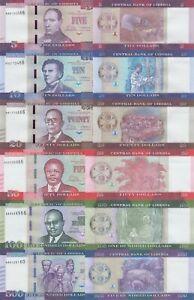 Liberia 6 PCS Set: 5 to 500 Dollars (2016) - p-31a to p-36a Prefix AA UNC